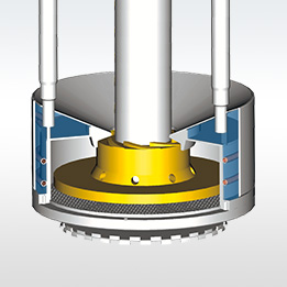 An integral impeller pumping wheel agitates the beads and circulates the millbase through the basket